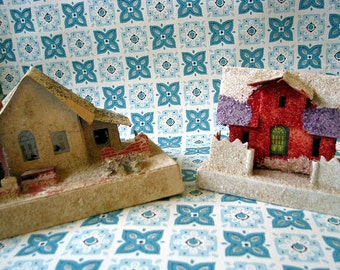2 Vintage Putz Houses NICE