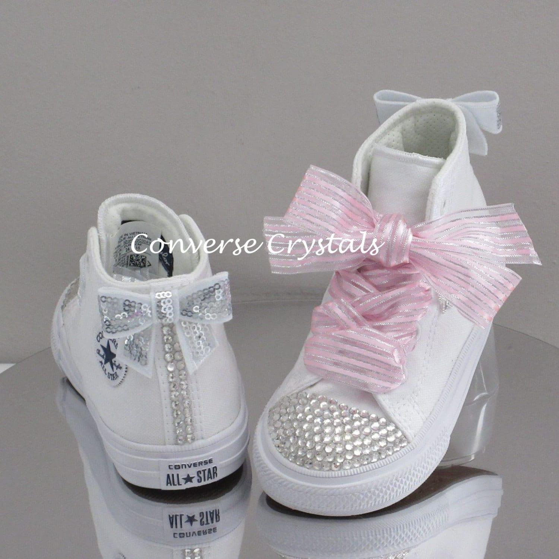 Girls Mono White Hi Top Custom Crystal Toes and Backs  Bling ... cf581067c