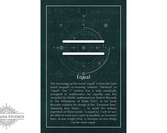 Math Poster, Equal, Equation, Equality, Printable Poster, Maths, Education