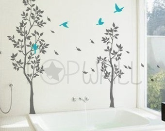 Tree with Falling Leaves ,birds, living room Wall decal wall sticker- home decor- vinyl art