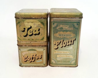 Vintage Antique Kitchen Canister Set of Three Flour, Tea and Coffee Storage Tins