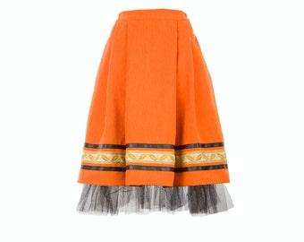 Folk skirt - orange skirt with vintage embroidery, leather stripe and tulle, folk inspired skirt (S-XXL)