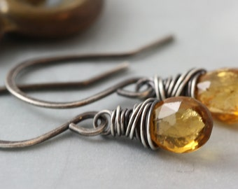 October Birthstone Gemstone Earrings, Drop Dangle, Yellow Tourmaline, Sterling Silver