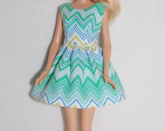 "Barbie doll dress Green Chevron A4B059 11.5"" fashion doll clothes"