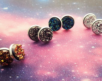 Druzy Earrings, Druzy Studs, Drusy Earrings, Faux Druzy, Galaxy Jewellery, Galaxy Earrings, Sparkly Earrings, Stud Earrings, Druzy Jewellery