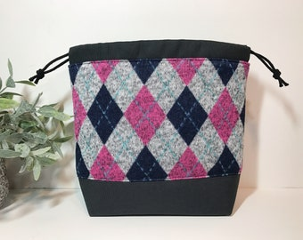 Small Knitting Crochet Project Bag in Argyle