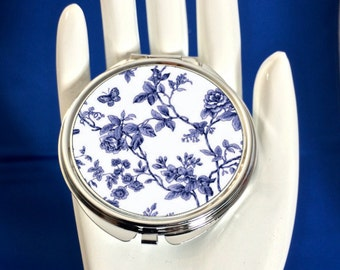Compact Mirror - Vintage  French Blue Floral and Butterfly