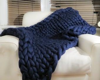 Super chunky knit blanket 100% Pure Merino Wool Blanket Navy Handmade Throw Extreme knitting chunky blanket super bulky throw chunky yarn