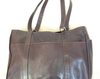 15% OFF SALE Large genuine vintage Piel brown leather shopper tote bag distress