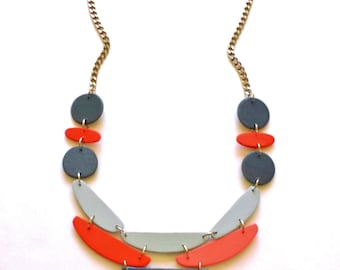 modern necklace - geometric necklace - wooden necklace in orange, gray - minimalist modern jewelry