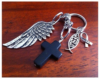Christian Keychain, Cowgirl Keychain, Cancer Awareness Keychain, Cross and Angel Wing Keychain