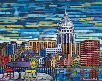 Madison Skyline, Madison Wisconsin, Union Terrace 8x10 Art Print by Anastasia Mak