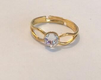 Swarovski Crystal Gold plated ring, Swarovski ring, Clear crystal ring Swarovski elements item155 by CraftyLittleMonkeyGB