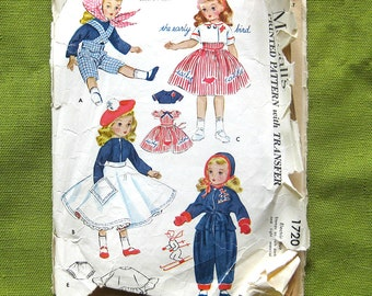 Vintage Sewing Pattern - DOLL CLOTHES - McCalls 1720 - Sweet Sue Dolls 1950s Wardrobe Pattern with Embroidery Transfers / 21 inch