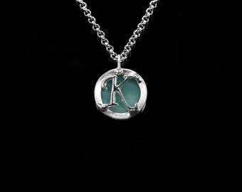 Stained glass letter K necklace pendant, stain glass letter jewelry, handmade jewelry, alphabet charm, name jewelry charm