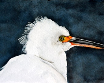 Watercolor Egret painting Snowy Egret by Betty Moore