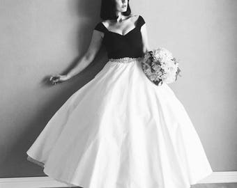 3 Piece Set! Couture Black & White WEDDING Gown, Tulle Petticoat and Rhinestone Sash Set , Boho Bride, Modern Pin Up 1950s Ballgown