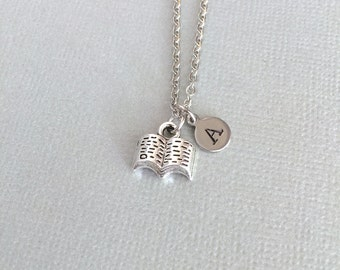 Personalized Dainty Book Necklace, Book Charm, Librarian Gift, Book Lover, Nerd Gift, Reader Gift, Initial Jewelry