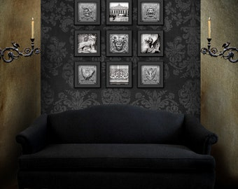 Gothic Home Decor / Pagan Decor / Paris Bedroom Decor / Set Of Nine /  Bedroom