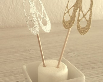 12 pcs GLITTER Ballet Slipper Cupcake Toppers  - Birthday - Ballerina Party - Shower - 12CT