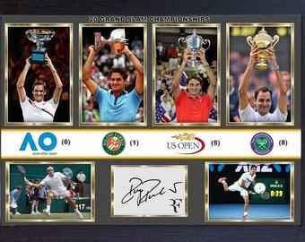 Roger Federer signed photo print picture 20 Grand SLAM CHAMPIONSHIPS Framed size (325mmx240mm)