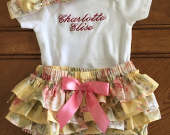Infant Girl Ruffled Bloomers with Personalized Onesie