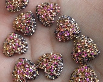 Magenta Gold 12mm faux druzy flat hearts 10pcs - E6:1