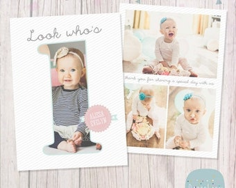 ON SALE First Birthday Card - Photoshop template - AF001 - Instant Download