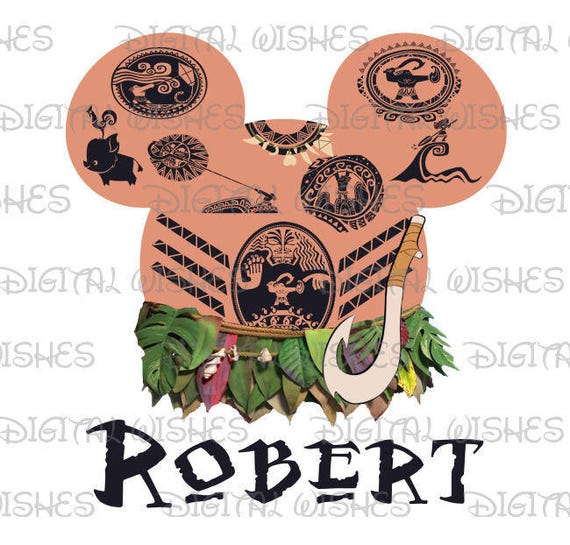 Maui From Moana Mickey Mouse Head Ears Digital Iron On