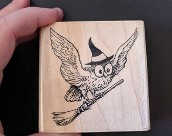 Wicked Owl Wood Mounted Rubber Stamp
