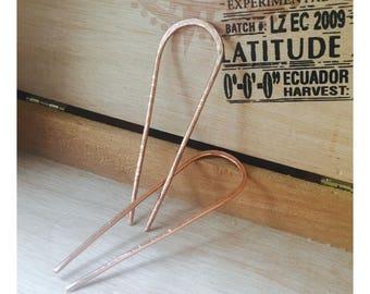 "3"" Hammered Copper Hairpins"