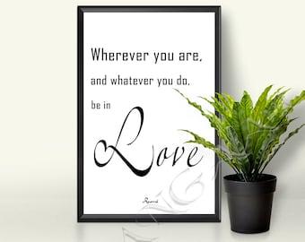 Rumi quote Rumi love quote Rumi Instant download Printable decor Living room Rumi wall art Love quote printable wall art JPG 8.27x11.7 /A4
