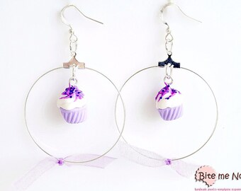 Glitter Lilac Cupcakes, Polymer Clay Food Earrings, Cupcake Jewelry, Miniature Food Jewelry, Kawaii Jewelry,Polymer Clay Sweets
