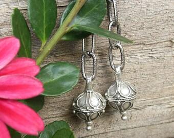 Long Silver Boho Earrings, Bali Style Greek Mykonos Intricate Pewter Drops, Old World Chain Earrings, Ornate Silver Dangles, Gift for Her