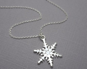 Snowflake Necklace, Sterling Silver Snowflake Necklace, Winter Wedding Bridesmaid Gift, Bridesmaids Gift, Flower Girl Necklace, Gift for Her