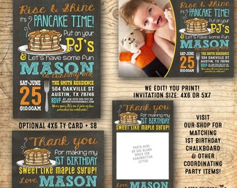 Pancake party invitation - Pancakes and Pajama party invitation - boys 1st birthday party - We edit you print chalkboard PDF invitation