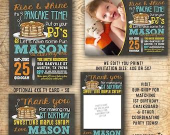 Pancakes and pajamas etsy pancake party invitation pancakes and pajama party invitation boys 1st birthday party we edit you print chalkboard pdf invitation filmwisefo