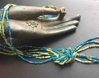 Sargasso Duo: Jadeite, green jasper, enhanced turquoise, glass, gold wash. Two-necklace and earring set.