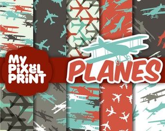 Airplanes - Blue Red White - Fly Sky Travel Aircraft Planes - Digital Scrapbooking Paper Pack - My Pixel Print