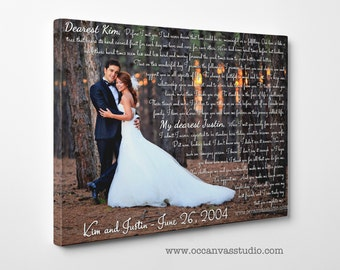 Canvas Anniversary Gift, Wedding Vows Gift, First Anniversary Gift for Him, Print on Canvas, Gift for groom, Gift for bride, Gift for her