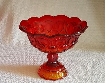 LE Smith Amberina Glass Moon and Stars Open Compote