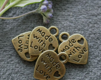 48pcs 12mm Antique bronze brass metal heart love pendant Charm how made with love drop M11