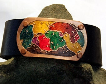 Etched Copper and Leather Cuff Bracelet  Plate Tectonics Design