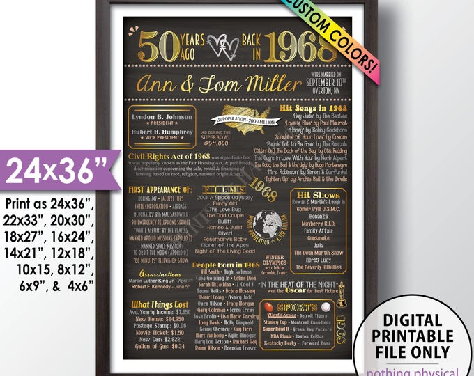 "50th Anniversary Gift, Married in 1968 Anniversary Poster, Flashback to 1968 Flashback in 1968, Chalkboard Style PRINTABLE 24x36"" Poster"