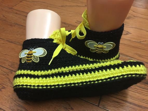 slippers bumblebee sneaker bee slippers black bumblebee slippers shoe tennis Crocheted WOmens sneakers yellow slippers 242 709 sneakers bee qgC47