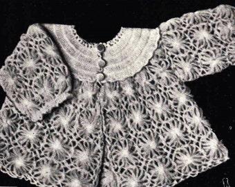 Babies Jacket ... Babies Matinee Jacket ... 1940's Pattern ... Vintage PDF Crochet Pattern ... Very Pretty Jacket ... Daisy Wheel