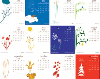 Gift Printable 2018 Desktop Calendar with color graphics for CD case