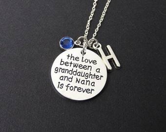 The Love between a Granddaughter and Nana is forever Necklace - Customized Initial and Birthstone, grandkids grandma grandmother