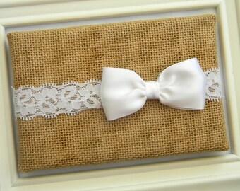 White Bow Headband - Lace Headband - White Satin Bow Headband