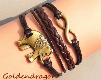 Elephant Bracelet, Infinity Bracelet, Leather Wax Cord Bracelet